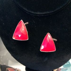 Red Triangular Clip On Earrings